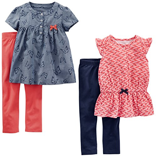 Simple Joys by Carter's Toddler Girls' 4-Piece Playwear Set, Red Geo/Chambray Butterfly, 4T