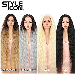 """Style Icon 41"""" Lace Front Wigs Long Wavy Synthetic Wigs with Baby Hair Half Hand Tied 130% Density Wigs (41"""", 1B)"""
