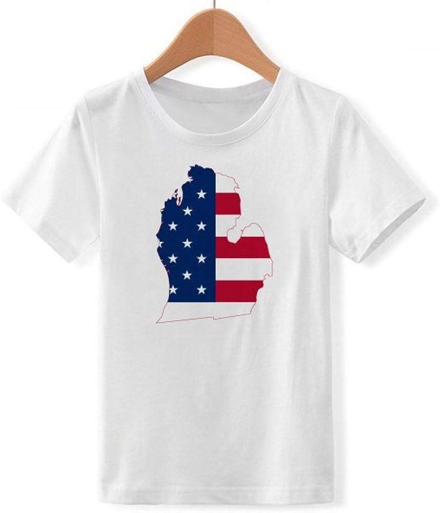 DIYthinker Michigan, Estados Unidos EE.UU. Mapa Bandera Estrellas tripes de Cuello Redondo Camiseta para Chico: Amazon.es: Ropa y accesorios