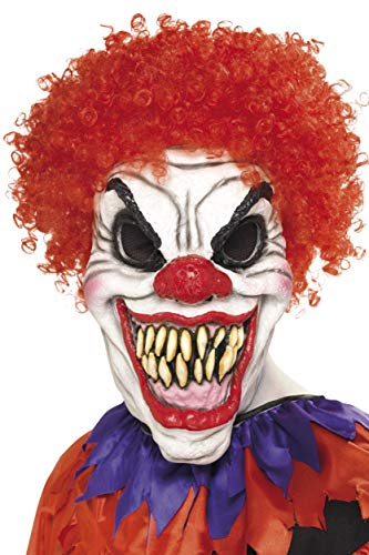 Smiffys Men's Scary Clown Mask, White & Red, One Size, -