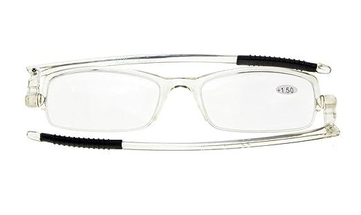 4d7949acac Eyekepper 360° Foldable Temples Reading Glasses with Transparent Case Men  Women (Transparent Frame
