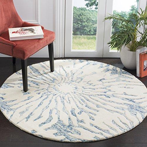 Safavieh Bella Collection BEL129B Handmade Dark Blue and Ivory Premium Wool Round Area Rug (5' Diameter)
