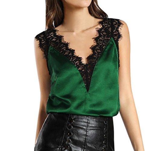 Toraway Women Sleeveless Tops, Women Fashion Summer Lace Tank Vest Top Sexy V-Neck Sleeveless Blouse Tops (Green, X-Large)