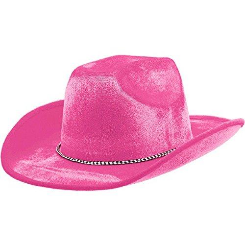 Pink Velour Cowboy Hat, Party Accessory