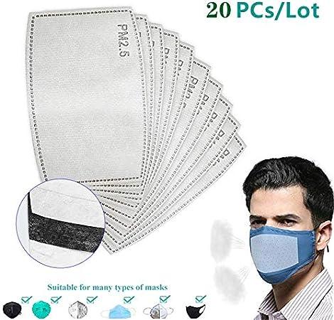 GUCL Máscara de Filtro de Papel, 20Pcs PM2.5 Papel de Filtro Anti Haze Boca Máscara del Polvo Anti máscara de Papel de Filtro Cuidado de la Salud