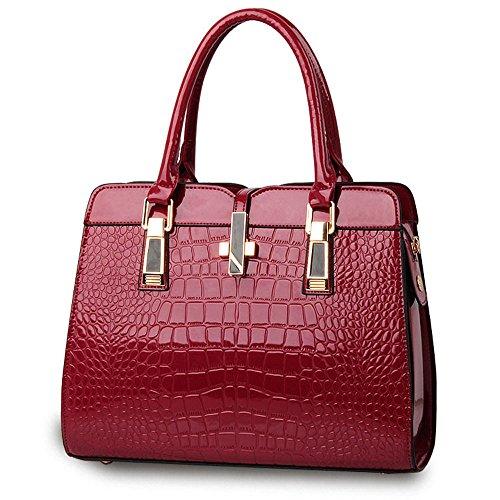 Motif Crocodile Sac à Main pour les Femmes Dames - Lumineux cuir verni / Haute Qualité Sac à Bandoulière / Européen et Américain Style Sac à épaule / Classique et Fonctionnelle Fourre-tout - Noir Violet-rouge