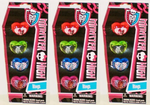 12-Piece Monster High Plastic Heart-Shaped Rings (Monster High Rings)