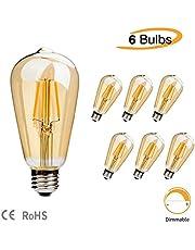 Ampoule LED Edison ST64 style vintage antique Ambre chaud 2700 K 4 W (équivalent 40 W) LED filament décoratif E27-6 pièces