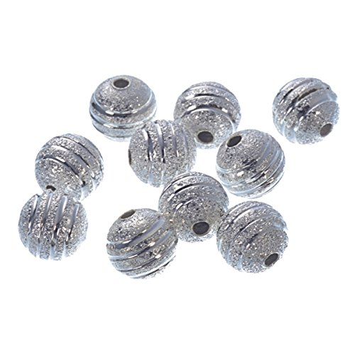 (YC 80Pcs Silver Plated Stardust Frosted Unpolished Beads Sparkle Sterling Findings 8mm Loose Metal Round Beads Craft DIY Jewelry Making Findings Charms Pendants)