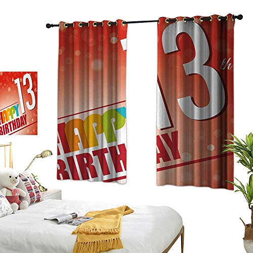 BlountDecor Light Luxury high-end Curtains 13th Birthday Retro Style Teenage Party Invitation Graphic Design with Bokeh Effect Rays W55 xL63 Multicolor Suitable for Bedroom Living Room Study,etc. ()