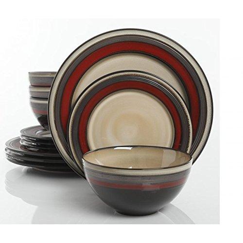 Everston 12 pc Dinnerware Set - Red - Metallic Reactive - St