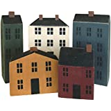 """CWI Gifts Wooden Primitive Houses (Set of 5), 3.5""""-7"""""""