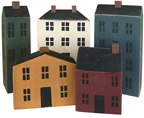 CWI Gifts Wooden Primitive Houses (Set of 5), 3.5''-7''