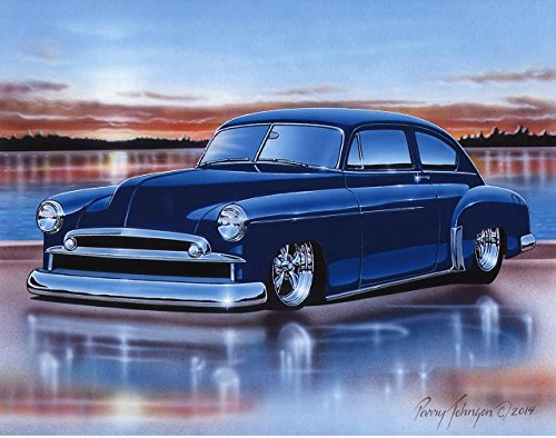 1949 49 Chevy Fleetline 2 Door Sedan Hot Rod Car Art Print Blue 11x14 Wall Decor