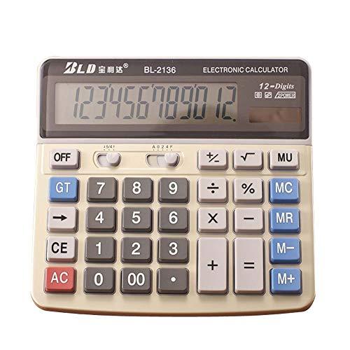 HUIHE - Calculadora de sobremesa, teclas grandes para computadora, visualización de 12 dígitos, color beige, apto para...