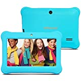 Alldaymall Tablet for kids 7 inch with Android Quad Core Wi-Fi and Dual Camera, 8GB+1GB, HD Kids Edition w/ iWawa Pre-Installed Bundle with Blue Kid-Proof Silicone Case (Third Generation)