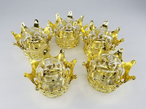 12 Pcs Baby Shower favors plastic Princess & Prince Gold Crown Decorations For party Girl & Boy Gifts -