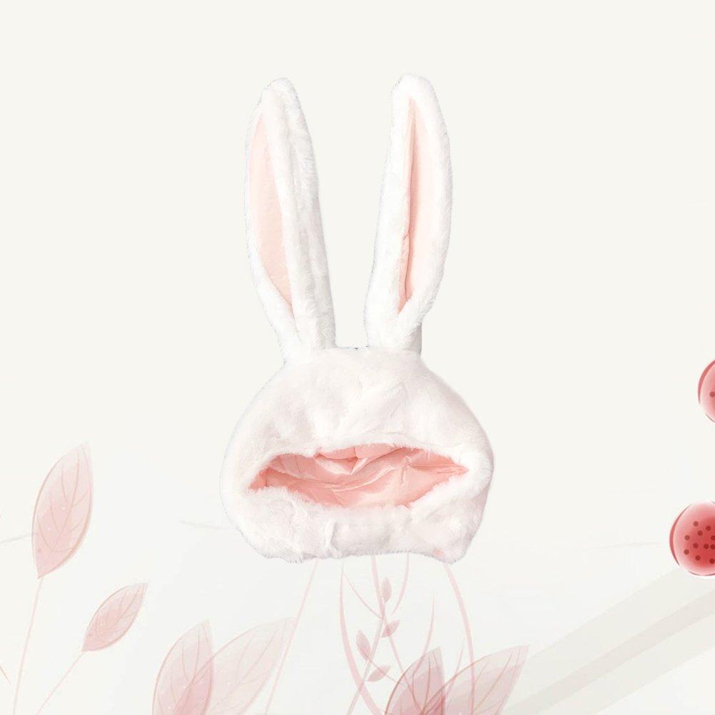 Amosfun Rabbit Headwear Cartoon Animal Hat Movable Ear Plush Cute Hat for Women Girls (White) by Amosfun (Image #3)