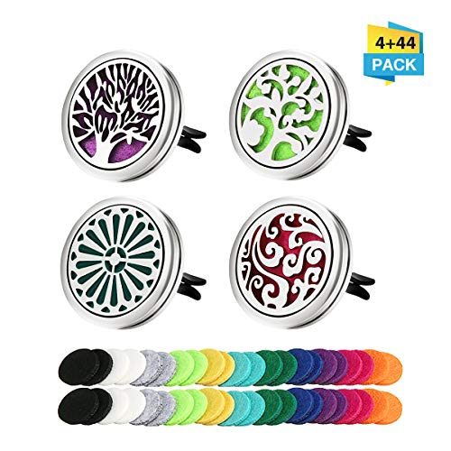 CHARMINER 4 Packs Car Essential Oil Diffuser Vent Clip, Aromatherapy Essential Oil Diffuser Vent Clip Stainless Steel Locket with 44 Felt Pads