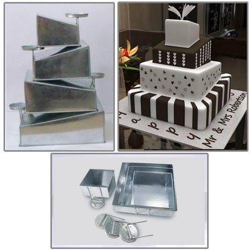 - Euro Tins multi layer cake pans Topsy Turvy Square 4 tier wedding cake pan - cake tin set with detachable stand