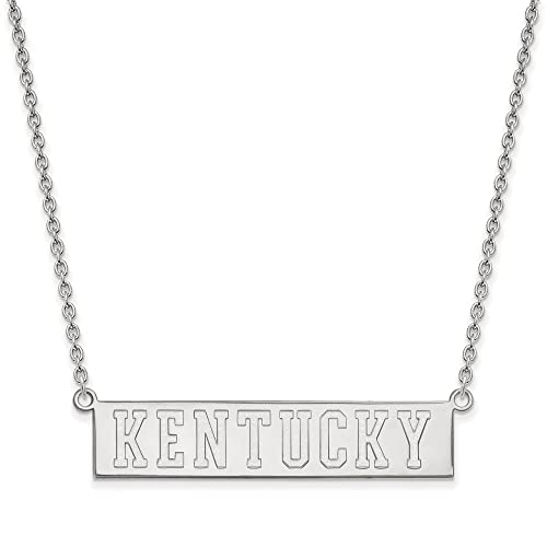 925 Sterling Silver Rhodium-plated Laser-cut University of Kentucky Large Pendant w//Necklace 18
