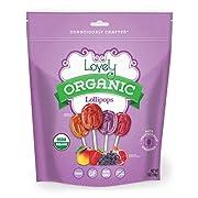 ORGANIC Lollipops - Lovely Co. 7oz Bag (40 count) - Strawberry, Pomegranate, Mango & Grape Flavors | NO HFCS, GLUTEN or Fake Ingredients, 100% VEGAN & Kosher!