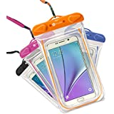 Waterproof Case, 4 Pack F-color Transparent PVC Waterproof Phone Pouch Case Dry Bag for Swimming, Boating, Fishing, Skiing, Rafting, Protect iPhone X 8 7 6S Plus SE, Galaxy S6 S7 Edge, LG G5 and More