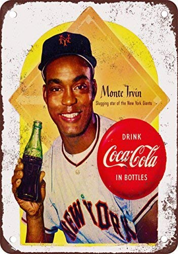 1954 Giant Monte Irvin for Coke Vintage Look Reproduction Metal Tin Sign 8X12 inches