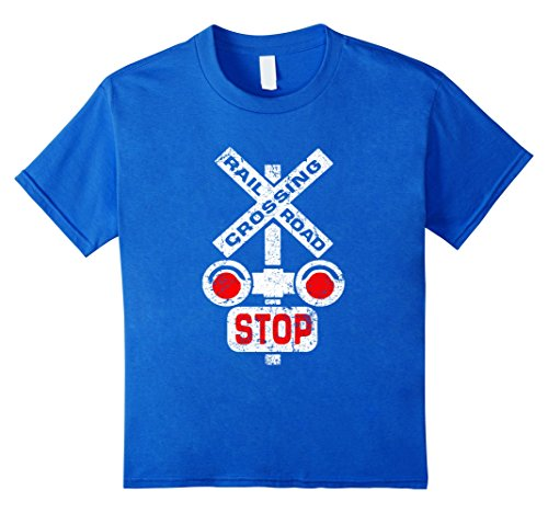 Kids COOL DISTRESSED RAILROAD CROSSING SIGN T-SHIRT Stop ...