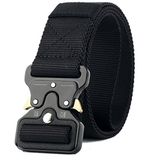 - Valpeak Mens Tactical Belt Military Nylon Gun Belts Concealed Carry Heavy Duty Quick Release Buckle Riggers 1.5 inch (Black, M)