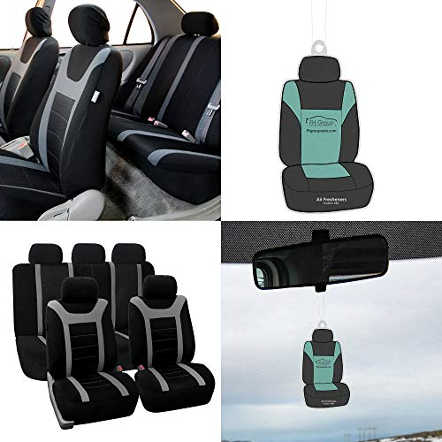 FH Group FB070115 Full Set Sports Fabric Car Seat Covers, Airbag Compatible & Split Bench, w. Free Air Freshener, Gray/Black Color- Fit Most Car, Truck, SUV, or Van ()
