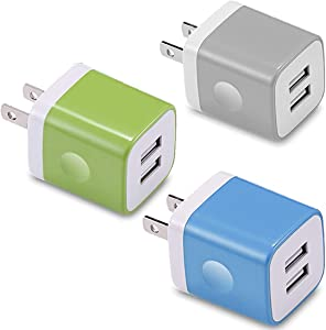 USB Wall Charger, KENHAO 3-Pack 2.1A/5V Dual Port USB Plug Power Adapter Charging Block Cube Compatible with iPhone 11 /Pro Max, XR/XS/X 8/7/6 Plus, Samsung, Moto (Blue, Green, Grey)