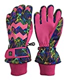 N'Ice Caps Girls Ombre Shaded Waterproof Thinsulate Winter Snow Ski Gloves (Fuchsia Multi Laser, 7-8yrs)