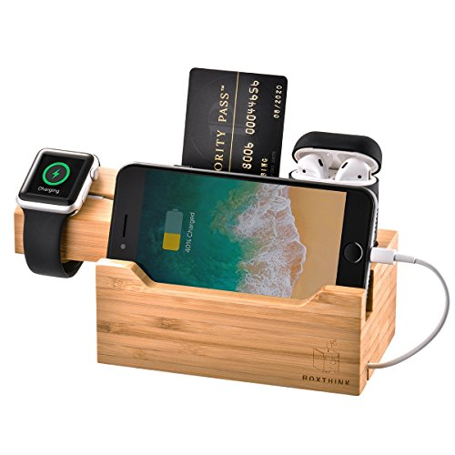 - ZeroElec Charging Dock AirPods Apple Watch Charger Stand Bamboo Wood Charging Station Desk Organization Compatible with AirPods/Apple Watch Series3/2/1/iPhone
