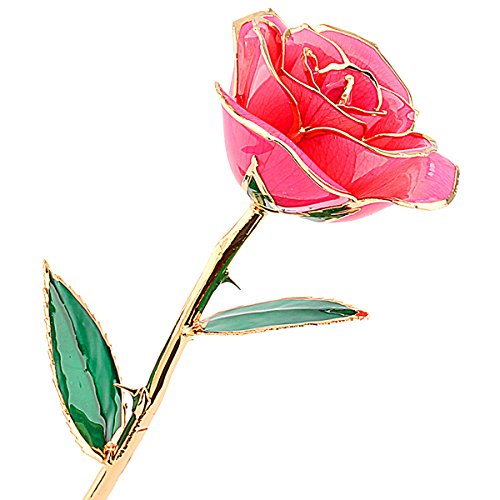 24 Carat Gold Dipped Pink Real Rose Flower Gifts for Women, Best Gift for Valentine's Day, Mother's Day, Anniversary, Birthday or Christmas