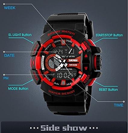 Fanmis Militar deportes reloj de pulsera analógico Digital multifunción alarma dual tiempo resistente al agua LED reloj azul: Amazon.es: Relojes