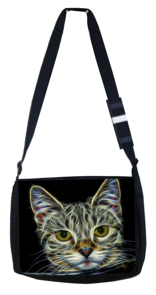 Fractal Kitten Rosie Parker Inc TM Medium Sized Messenger Bag 11.75 x 15.5 and 4.5 x 8.5 Pencil Case SET
