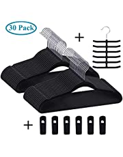 Premium Velvet Suit Hangers Heavy Duty - Non Slip & Space-Saving Clothes Hangers with 6 Finger Clips and Tie Rack for Men and Women (50 Pack)