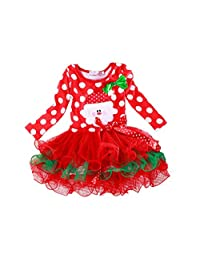 KMFEEL Cute Baby Girl's Christmas Long Sleeve Princess TuTu Dresses 2T-6T