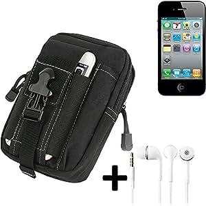 Bolsa del cinturón / funda para Apple iPhone 4s, negro + auriculares | compartimientos adicionales con el espacio para el banco de la energía, disco duro, etc. - K-S-Trade (TM)