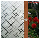 Arthome 35.4 x 100 inches Decorative Window Films Privacy Glass Film Frosted No Glue Self Static Cling UV Blocking for Bathroom Living Room Bedroom Kitchen Office Home (90 x 254 CM, AHS159)