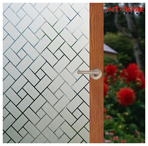 Arthome 35.4 x 100 inches Decorative Window Films Privacy Glass Film Frosted No Glue Self Static Cling UV Blocking for Bathroom Living Room Bedroom Kitchen Office Home (90 x 254 CM, AHS159) by Art & Home