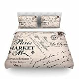 KESS InHouse Sylvia Cook ''French Script'' Handwriting Featherweight Queen Duvet Cover, 88 x 88''
