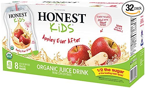 HONEST Kids Organic Juice Drink, Appley Ever After, 8 count 6.75 fl oz Pouches (Pack of 4)