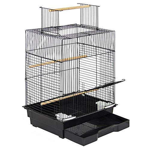 Open Top Metal Bird Cage for Small Birds Canary Parakeet Cockatiel Budgie Small Parrot Travel Cage w/Open Top