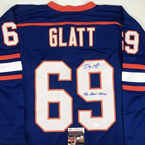 Autographed/Signed Doug Glatt The Real Goon Doug Smith Halifax Highlanders Blue Hockey Jersey JSA COA ()