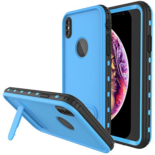 Protector Case Cover Blue (PunkCase iPhone XR Waterproof Case, [KickStud Series] Slim Fit IP68 Certified [Shockproof] [Snowproof] Armor Cover W/Built-in Screen Protector + Kickstand Compatible W/Apple iPhone XR [Light Blue])