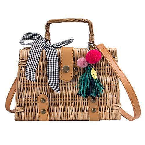 - Outique Women Beach Bag Tassel Smile Bamboo Basket Bucket Bag Square Bag Messenger Bag Crossbody