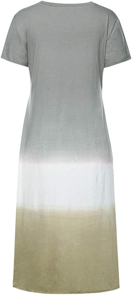 Sonmer Womens Tie-Dyed Color Block V Neck Short Sleeve Maxi Dress Casual Loose Plus Size