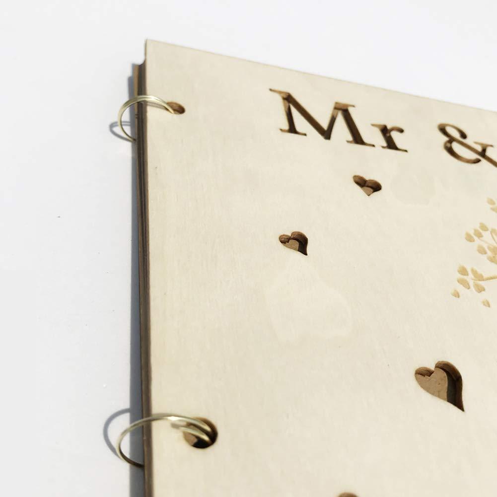 Surenhap /Árbol Artesanal dise/ño Libro de Madera invitado Firma Libro DIY decoraci/ón de Fiesta de Boda